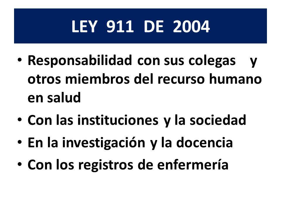 LEY 911 DE 2004 Responsabilidad con sus colegas y otros miembros del recurso humano en salud.