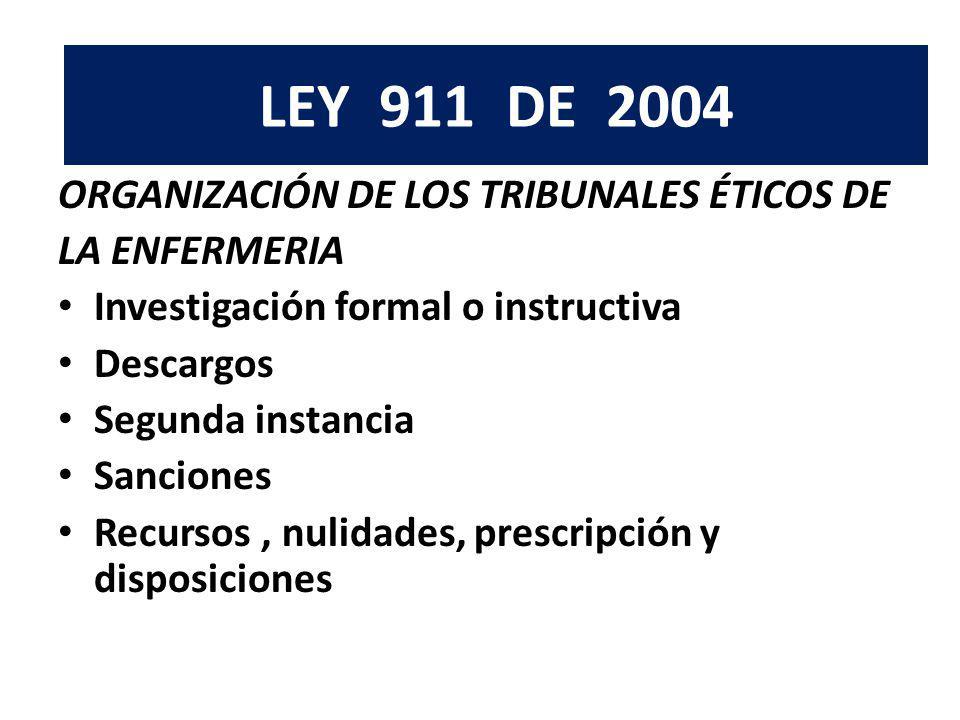 LEY 911 DE 2004 LEY 911 DE 2004. ORGANIZACIÓN DE LOS TRIBUNALES ÉTICOS DE. LA ENFERMERIA. Investigación formal o instructiva.