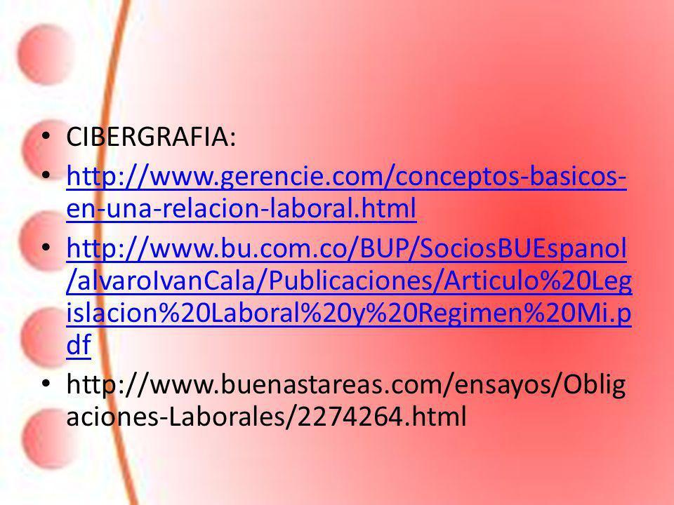 CIBERGRAFIA: http://www.gerencie.com/conceptos-basicos-en-una-relacion-laboral.html.