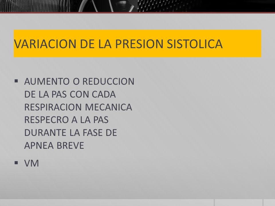 VARIACION DE LA PRESION SISTOLICA