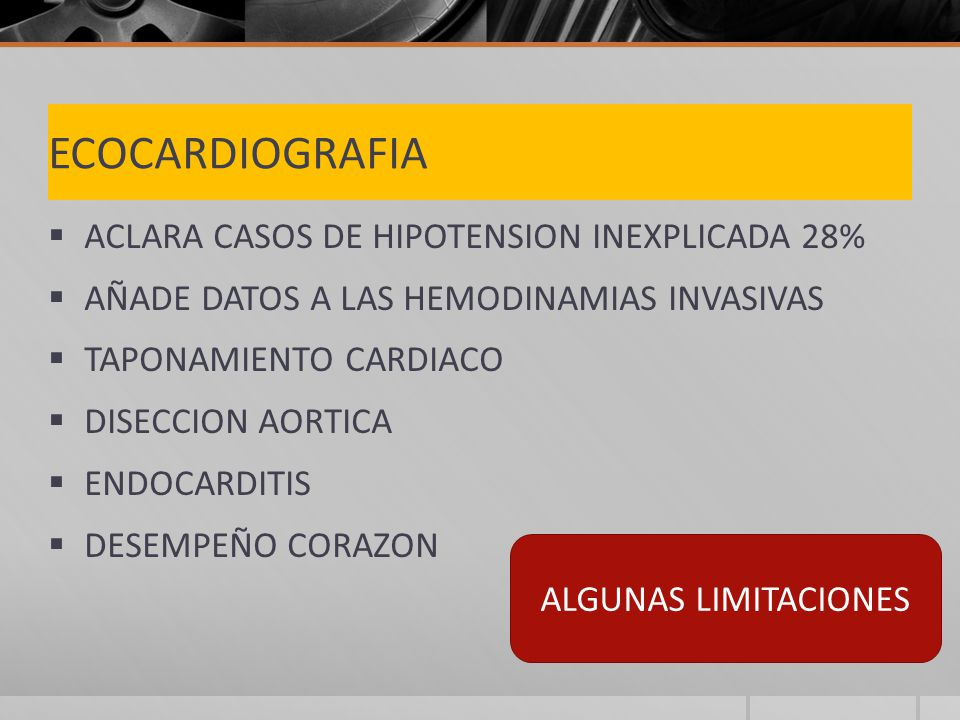 ECOCARDIOGRAFIA ACLARA CASOS DE HIPOTENSION INEXPLICADA 28%