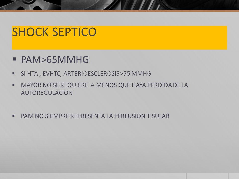 SHOCK SEPTICO PAM>65MMHG