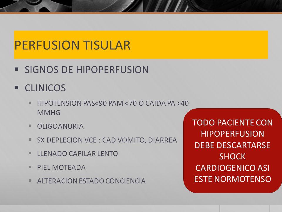 PERFUSION TISULAR SIGNOS DE HIPOPERFUSION CLINICOS