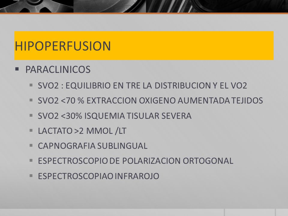HIPOPERFUSION PARACLINICOS