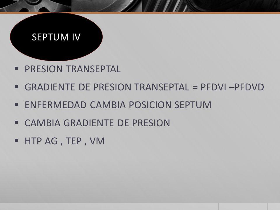 SEPTUM IV PRESION TRANSEPTAL. GRADIENTE DE PRESION TRANSEPTAL = PFDVI –PFDVD. ENFERMEDAD CAMBIA POSICION SEPTUM.