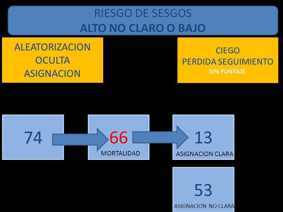 74 66 13 53 RIESGO DE SESGOS ALTO NO CLARO O BAJO ALEATORIZACION