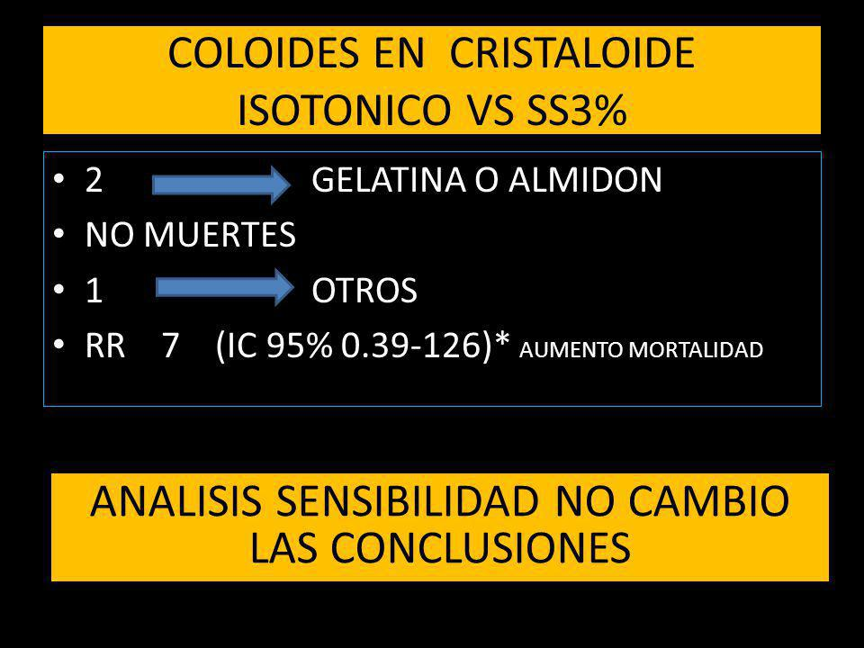 COLOIDES EN CRISTALOIDE ISOTONICO VS SS3%