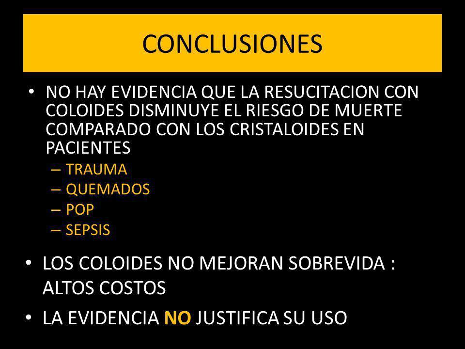 CONCLUSIONES LOS COLOIDES NO MEJORAN SOBREVIDA : ALTOS COSTOS