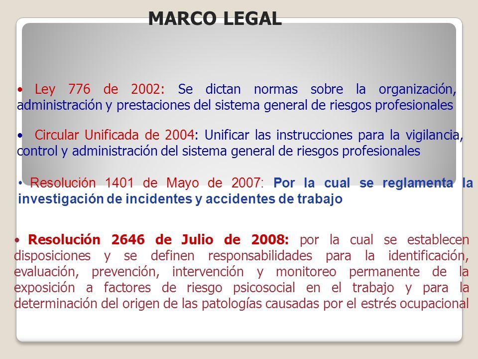 MARCO LEGAL Ley 776 de 2002: Se dictan normas sobre la organización, administración y prestaciones del sistema general de riesgos profesionales.