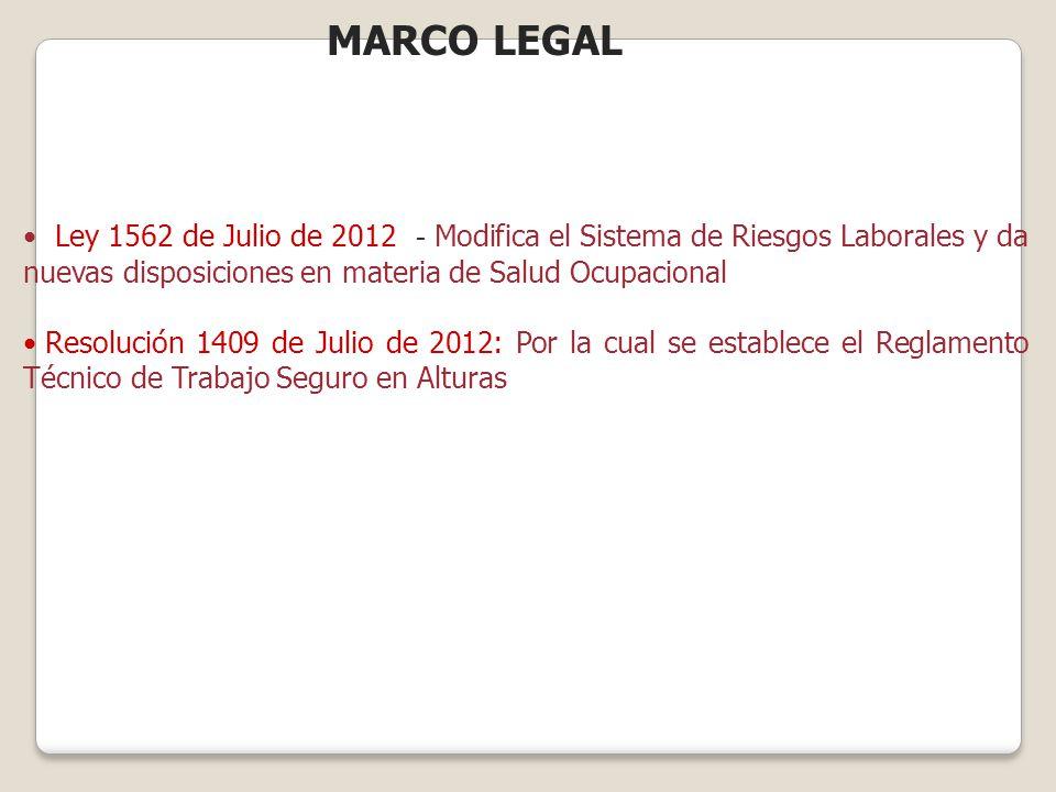 MARCO LEGAL Ley 1562 de Julio de 2012 - Modifica el Sistema de Riesgos Laborales y da nuevas disposiciones en materia de Salud Ocupacional.