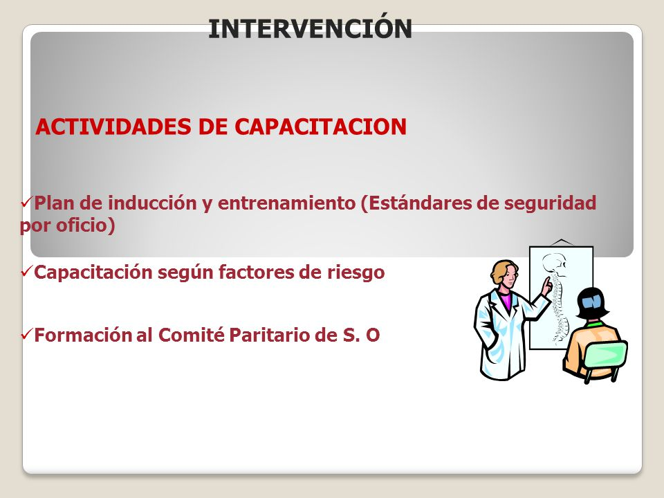 INTERVENCIÓN ACTIVIDADES DE CAPACITACION