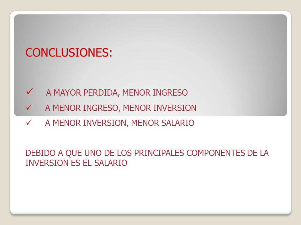 CONCLUSIONES: A MAYOR PERDIDA, MENOR INGRESO