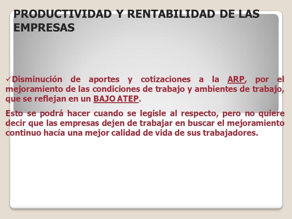 PRODUCTIVIDAD Y RENTABILIDAD DE LAS EMPRESAS