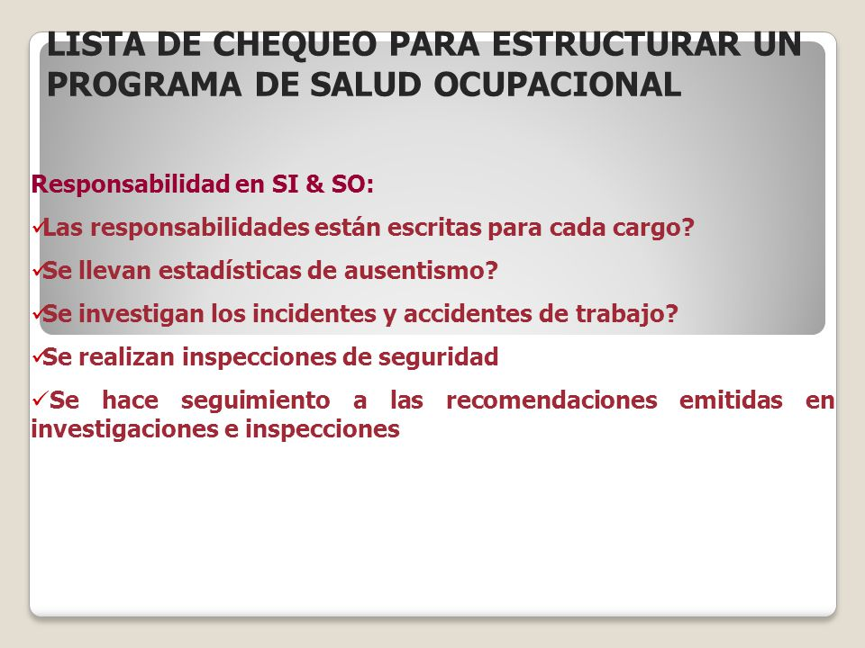 LISTA DE CHEQUEO PARA ESTRUCTURAR UN PROGRAMA DE SALUD OCUPACIONAL