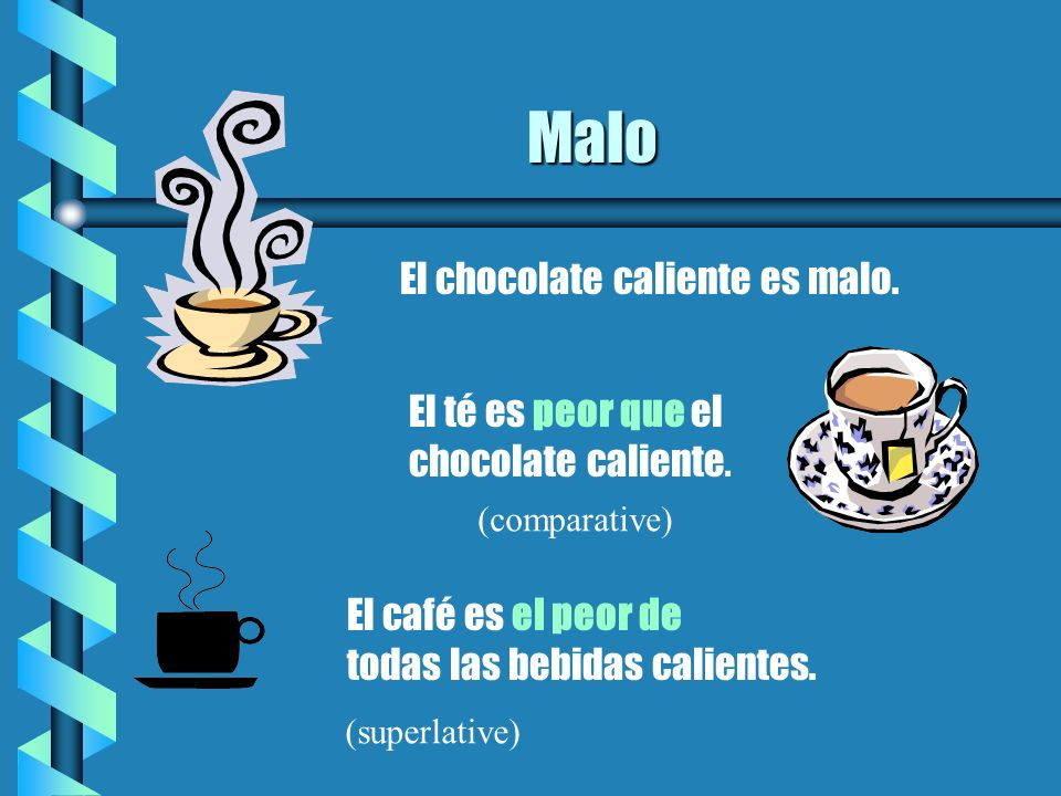 Malo El chocolate caliente es malo. El té es peor que el