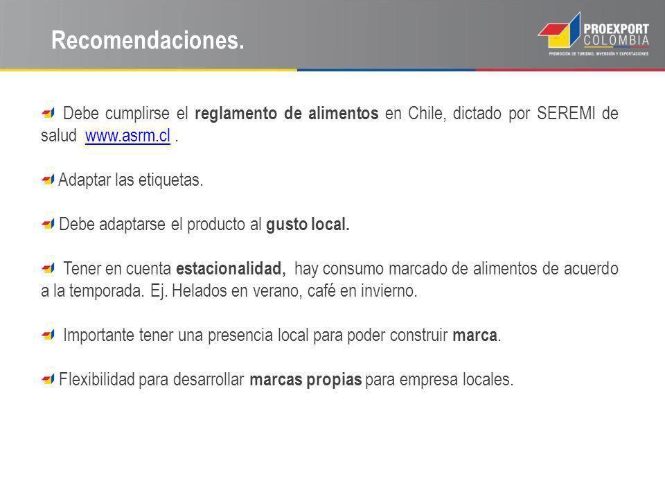 Recomendaciones. Debe cumplirse el reglamento de alimentos en Chile, dictado por SEREMI de salud www.asrm.cl .