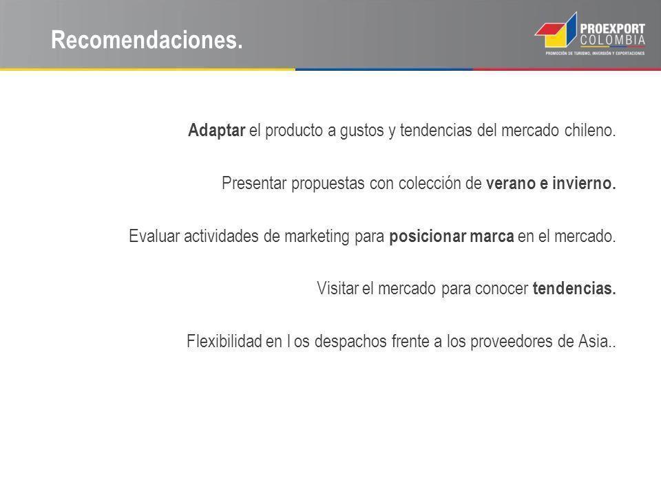 Recomendaciones. Adaptar el producto a gustos y tendencias del mercado chileno. Presentar propuestas con colección de verano e invierno.