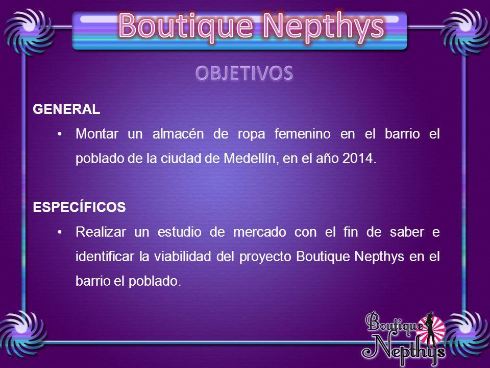 OBJETIVOS GENERAL Montar un almacén de ropa femenino en el barrio el poblado de la ciudad de Medellín, en el año 2014.