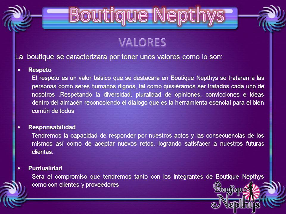 VALORES La boutique se caracterizara por tener unos valores como lo son: Respeto.