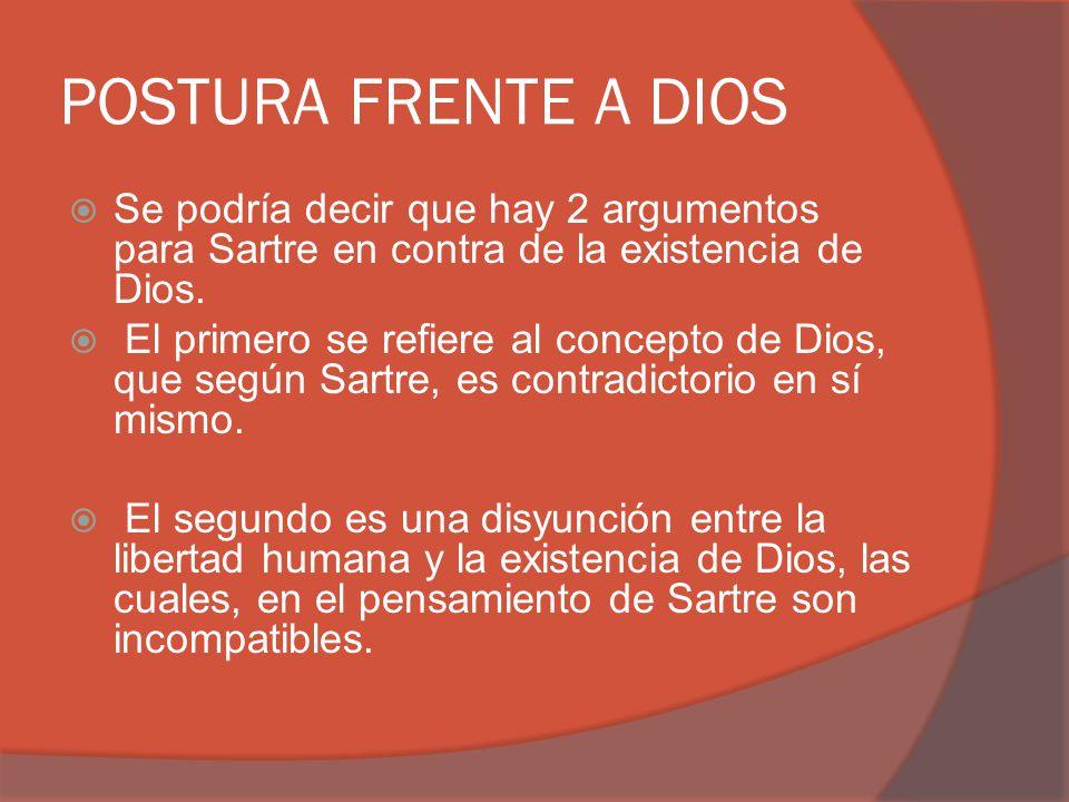 POSTURA FRENTE A DIOS Se podría decir que hay 2 argumentos para Sartre en contra de la existencia de Dios.