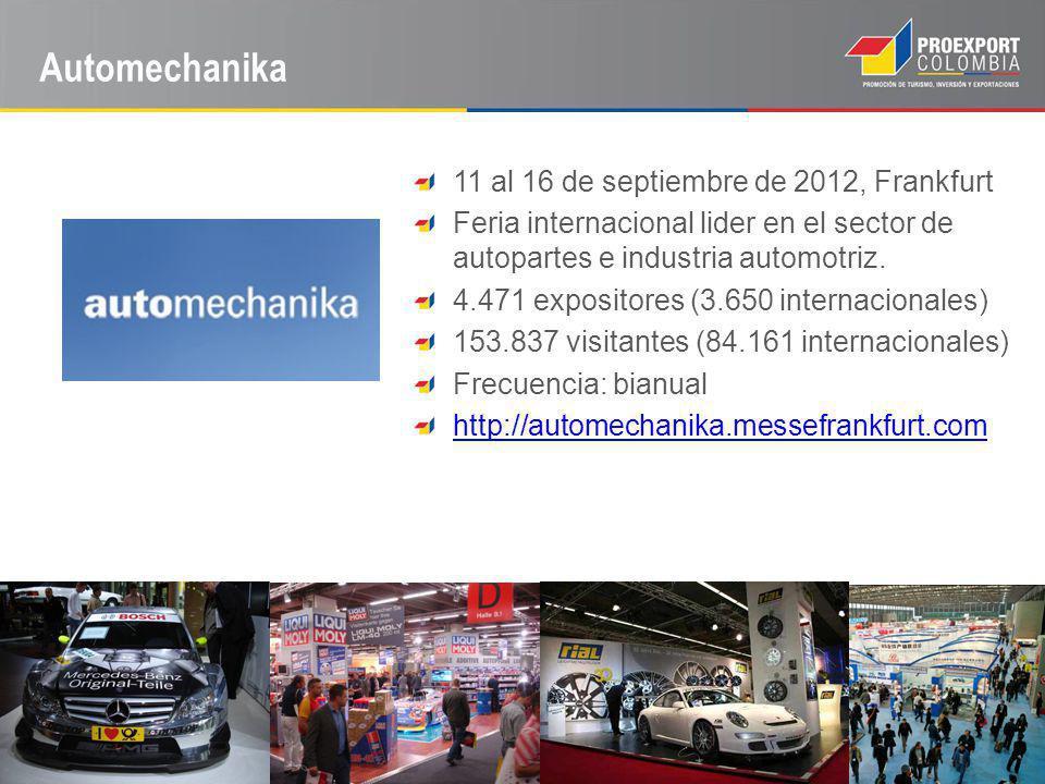 Automechanika 11 al 16 de septiembre de 2012, Frankfurt