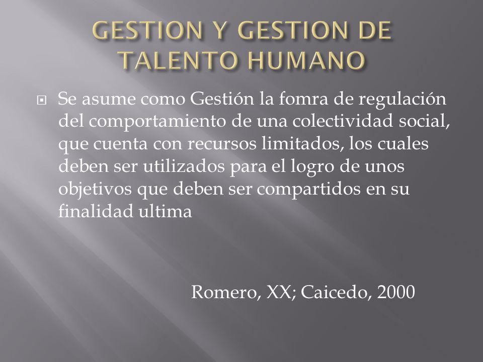 GESTION Y GESTION DE TALENTO HUMANO