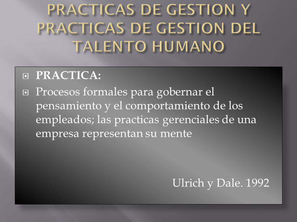 PRACTICAS DE GESTION Y PRACTICAS DE GESTION DEL TALENTO HUMANO