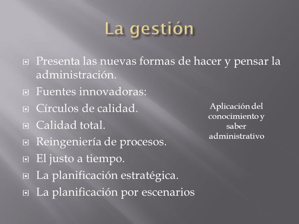 Aplicación del conocimiento y saber administrativo