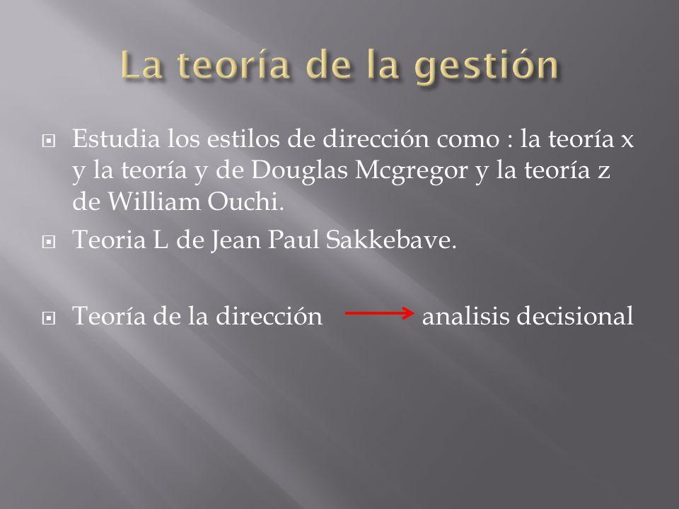 La teoría de la gestión Estudia los estilos de dirección como : la teoría x y la teoría y de Douglas Mcgregor y la teoría z de William Ouchi.