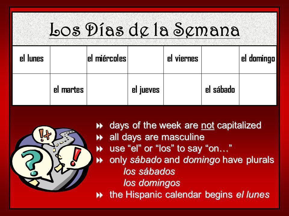 Los Días de la Semana el lunes el miércoles el viernes el domingo