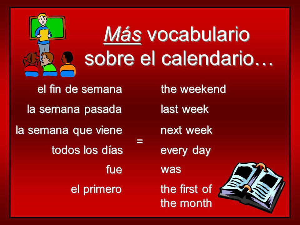 Más vocabulario sobre el calendario… el fin de semana the weekend