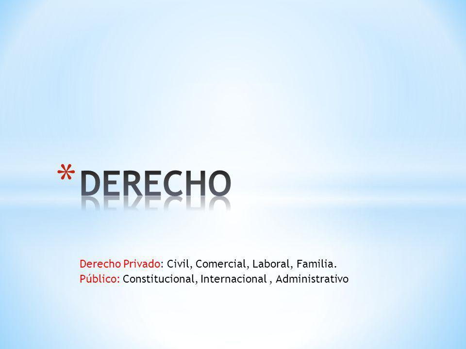 DERECHO Derecho Privado: Civil, Comercial, Laboral, Familia.