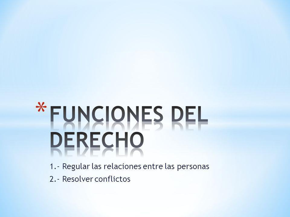 1.- Regular las relaciones entre las personas 2.- Resolver conflictos