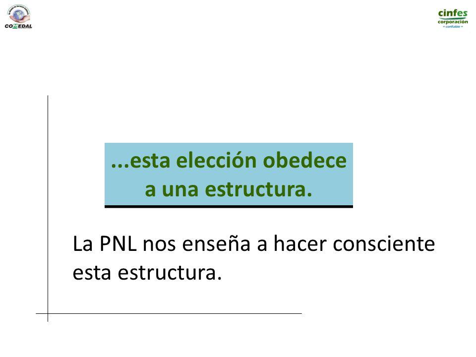 ...esta elección obedece a una estructura. La PNL nos enseña a hacer consciente esta estructura.