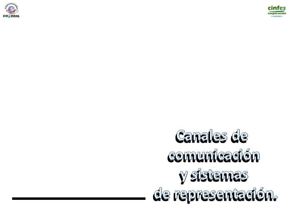 Canales de comunicación y sistemas de representación.