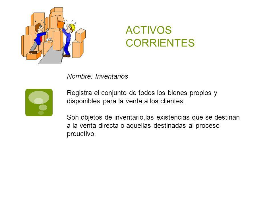 ACTIVOS CORRIENTES Nombre: Inventarios