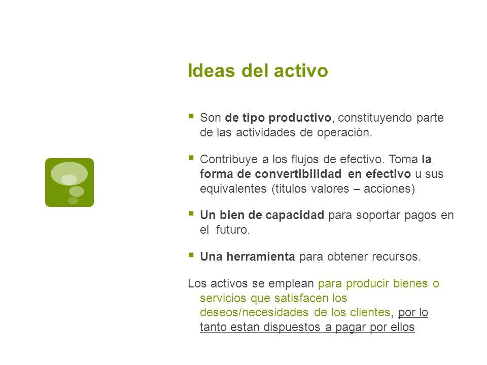 Ideas del activo Son de tipo productivo, constituyendo parte de las actividades de operación.
