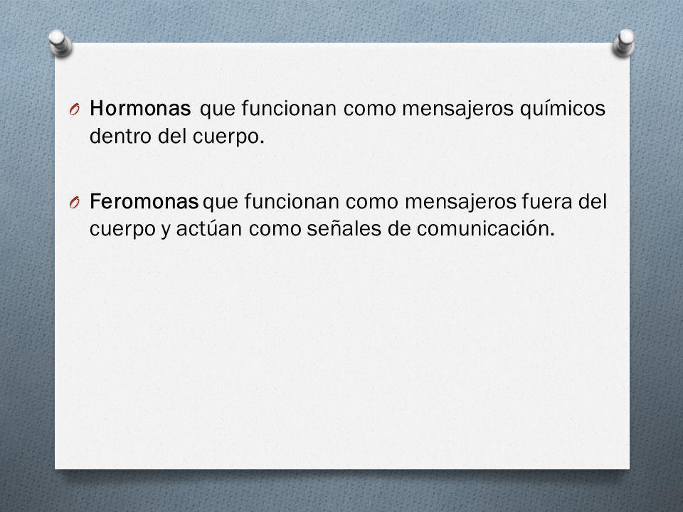 Hormonas que funcionan como mensajeros químicos dentro del cuerpo.