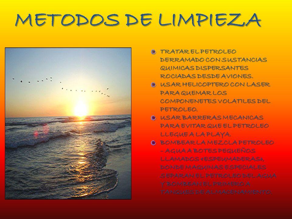 METODOS DE LIMPIEZA TRATAR EL PETROLEO DERRAMADO CON SUSTANCIAS QUIMICAS DISPERSANTES ROCIADAS DESDE AVIONES.