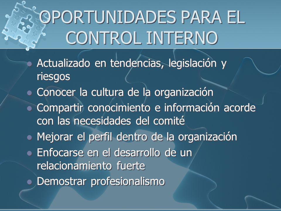 OPORTUNIDADES PARA EL CONTROL INTERNO