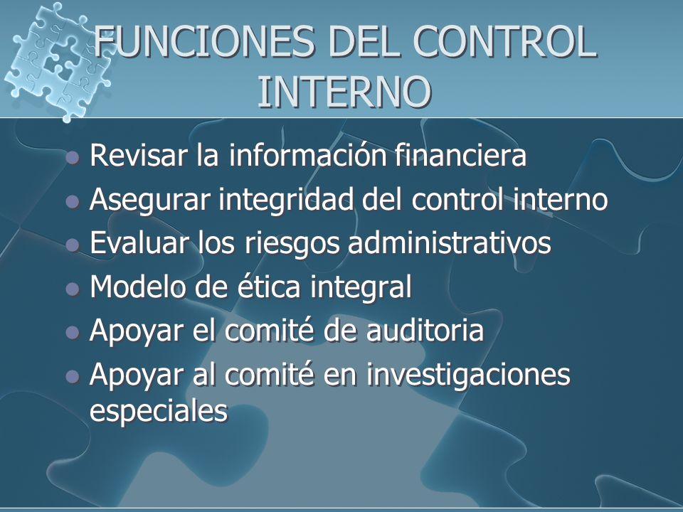 FUNCIONES DEL CONTROL INTERNO