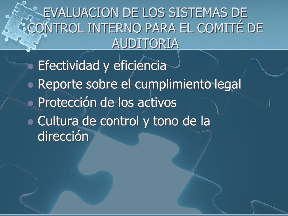 EVALUACION DE LOS SISTEMAS DE CONTROL INTERNO PARA EL COMITÉ DE AUDITORIA