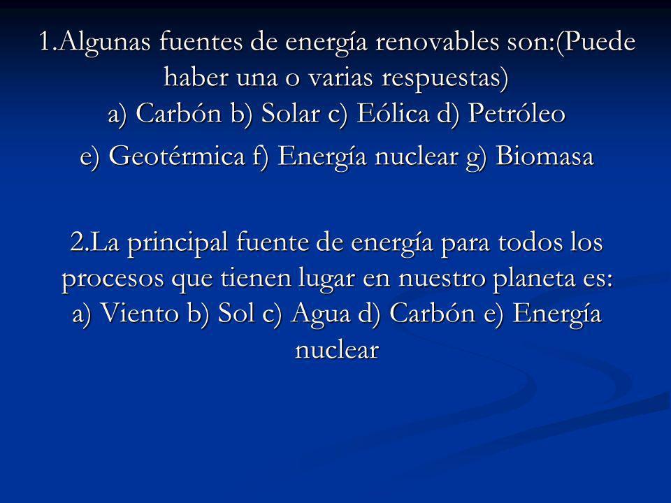 e) Geotérmica f) Energía nuclear g) Biomasa