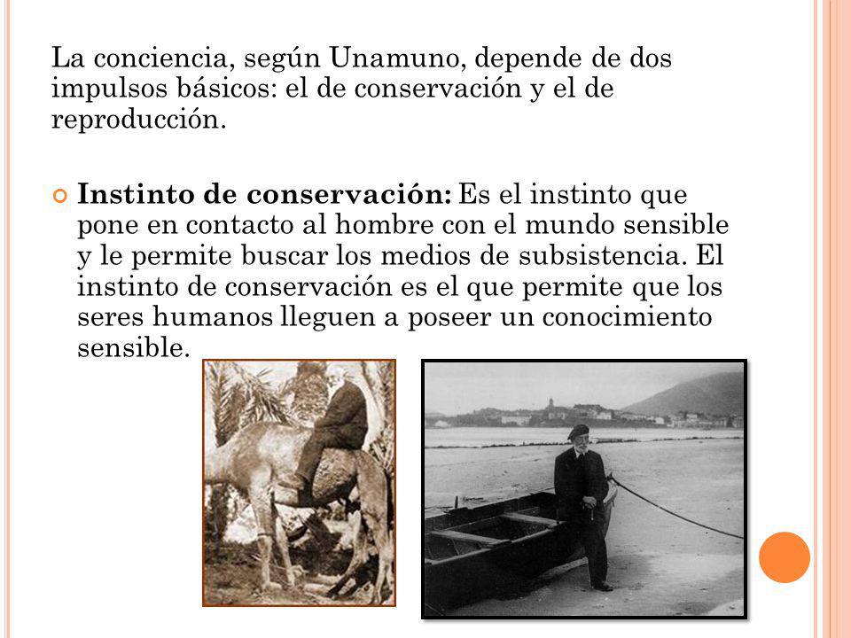 La conciencia, según Unamuno, depende de dos impulsos básicos: el de conservación y el de reproducción.