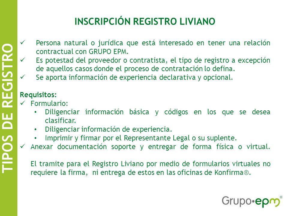 INSCRIPCIÓN REGISTRO LIVIANO