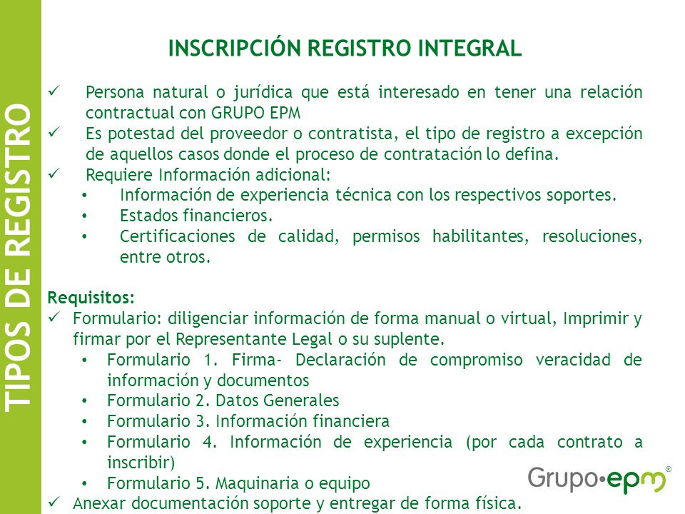 INSCRIPCIÓN REGISTRO INTEGRAL