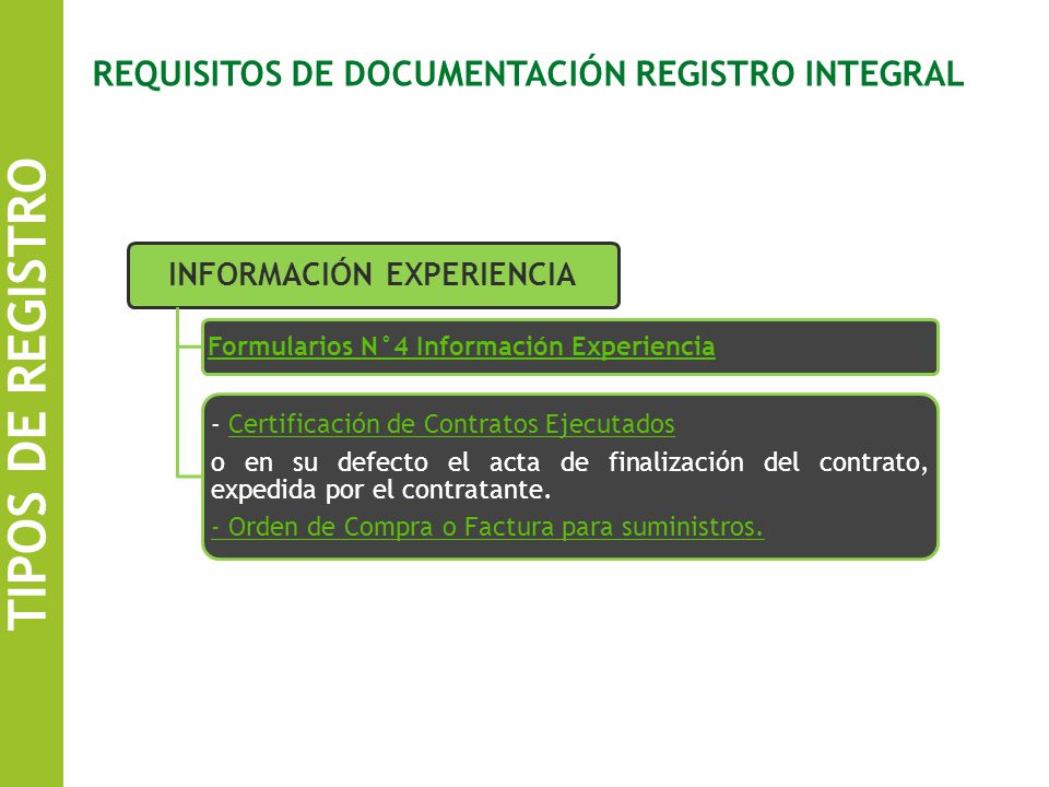 REQUISITOS DE DOCUMENTACIÓN REGISTRO INTEGRAL