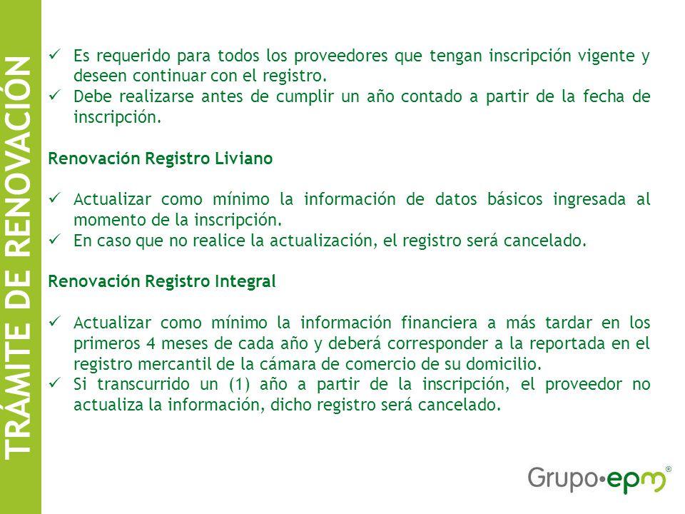 Es requerido para todos los proveedores que tengan inscripción vigente y deseen continuar con el registro.