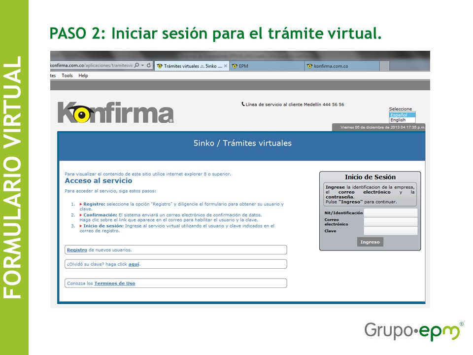 FORMULARIO VIRTUAL PASO 2: Iniciar sesión para el trámite virtual.