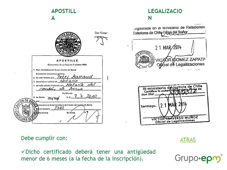 APOSTILLA LEGALIZACION. Debe cumplir con: Dicho certificado deberá tener una antigüedad menor de 6 meses (a la fecha de la inscripción).